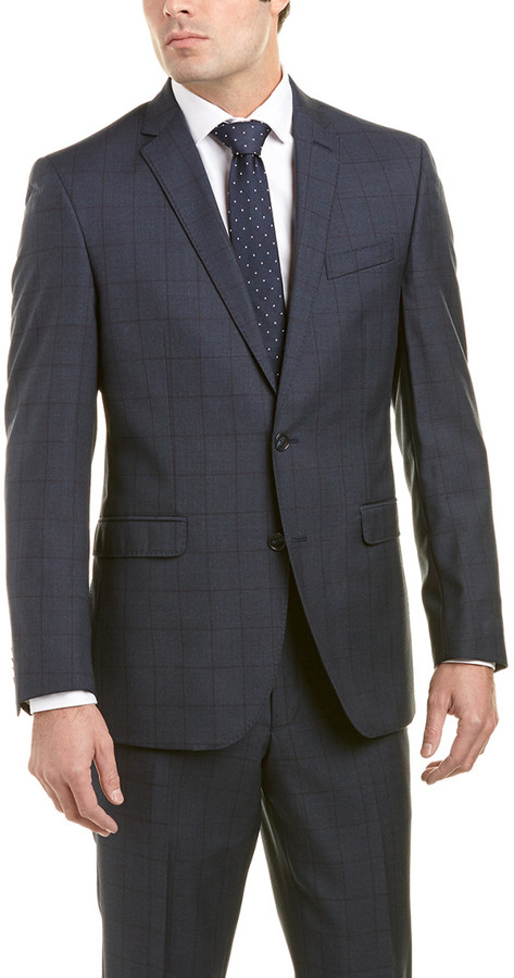 Kenneth Cole New York Wool Suit With Flat Front Pant