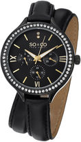 SO & CO NY Womens Madison Black Double Wrap Genuine Leather Strap Quartz Watch J152P10
