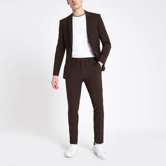 River Island Mens Brown skinny fit suit trousers