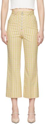 Miu Miu Pink and Green Plaid Flared Trousers