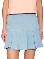 Love Moschino Pleated Denim Mini Skirt