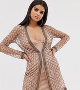 Asos Tall DESIGN Tall embellished robe mini dress