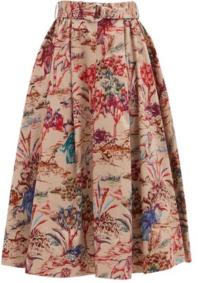 MSGM Jungle-print Flared Cotton-twill Midi Skirt - Beige Multi
