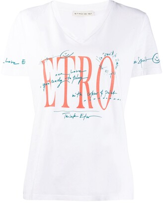 Etro graphic v-neck T-shirt