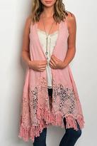 onetheland Rose Lace Fringe Vest