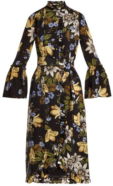 Erdem Siren passion flower-print ruffled silk dress