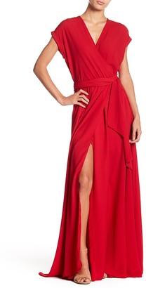 Meghan La Jasmine Solid Maxi Wrap Dress