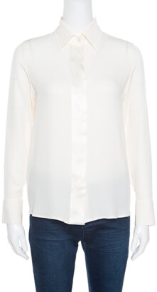 Giorgio Armani Cream Silk Crepe Satin Placket Detail Long Sleeve Blouse S