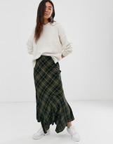 Asos Design DESIGN fluted hem check bias maxi skirt