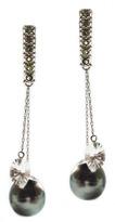 """Joan Hornig Madison"""" Tahitian Pearl Drop Earrings"""
