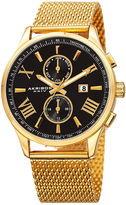 Akribos XXIV Mens Gold-Tone Mesh Bracelet Watch