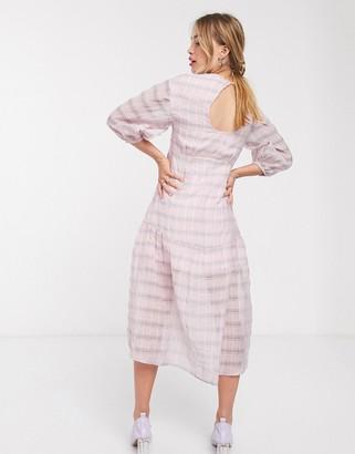 Lost Ink drop waist midi dress in check