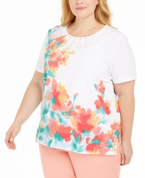 Alfred Dunner Plus Size Classics Embellished Floral-Print Top