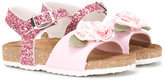 MonnaLisa rose sandals - kids - Cotton/Leather/rubber - 35