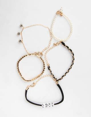 Full Tilt 5 Piece Rhinestone Pearl & Love Bracelets