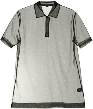 Vera Wang Short Sleeve Tulle Polo Shirt