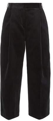 Margaret Howell High-rise Cotton-corduroy Wide-leg Trousers - Womens - Black