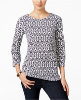 Charter Club Petite Printed Textured Top, Only at Macy's