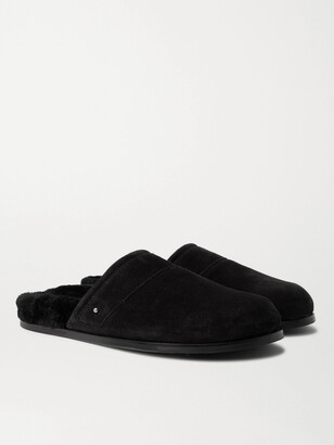 Mr P. Shearling-Lined Suede Slippers - Men - Black