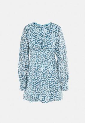 Missguided Blue Floral Print Key Hole Back Skater Dress