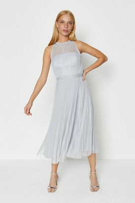 Coast Mesh Pleated Midi Dress