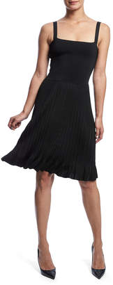 Theory Pleated Square-Neck Sleeveless Dress