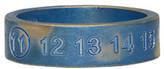 Maison Margiela Silver and Blue Logo Ring