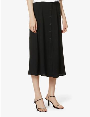 Reformation Hermosa high-waist crepe midi skirt