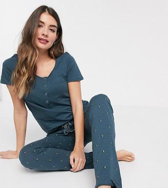 Mama Licious Mamalicious Maternity pyjama set with nursing function in blue star print