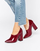 Daisy Street Burgundy Patent High Vamp Point Heeled Shoes