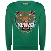 Boys Green Embroidered Tiger Sweater