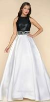 Mac Duggal Sleeveless Beaded Satin Open Back Evening Dress