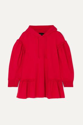 Simone Rocha Ruffled Stretch-jersey Hoodie - Red