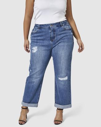 Indigo Tonic Annie Roll Up Boyfriend Jeans