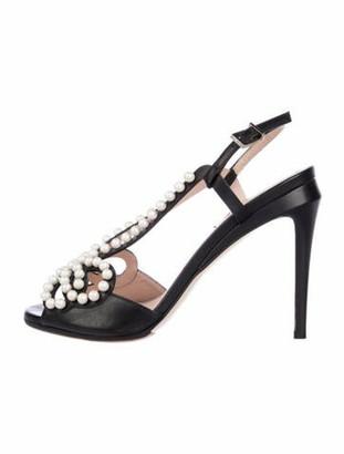 Fendi Faux Pearl Accents Leather Slingback Sandals Black