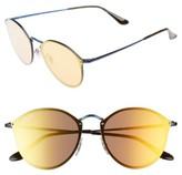 Ray-Ban Men's 59Mm Round Sunglasses - Blue/ Dark Orange Mirror