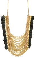 Deepa Gurnani Glass Labradorite & Feather Necklace