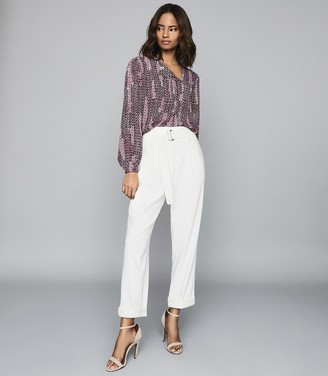Reiss Peyton - Printed Blouse in Berry