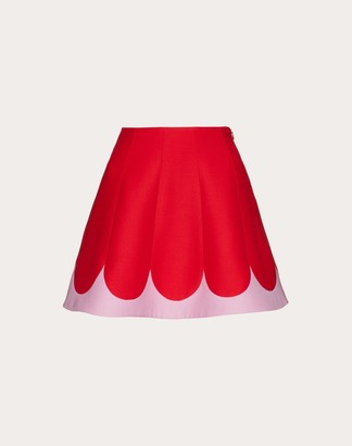Valentino Two-tone Crepe Couture Miniskirt Women Red Virgin Wool 65%, Silk 35% 38