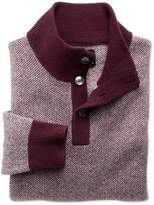 Charles Tyrwhitt Wine Jacquard Button Neck Wool Sweater Size Large