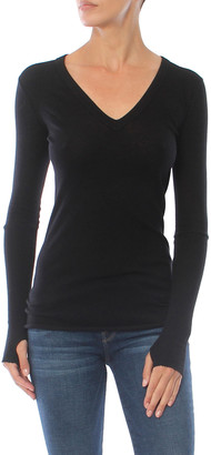 Singer22 Cotton Cashmere Cuffed V Neck Top