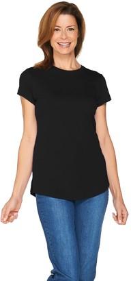 Isaac Mizrahi Live! Essentials Pima Cotton Curved Hem T-Shirt