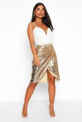 boohoo Petite Sequin Wrap Midi Skirt
