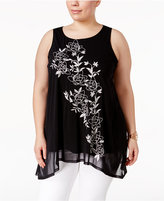 Alfani Plus Size Embroidered Top, Only at Macy's