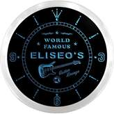 AdvPro Clock ncpf0877-b ELISEO'S Famous Guitar Lounge Beer Pub LED Neon Sign Wall Clock
