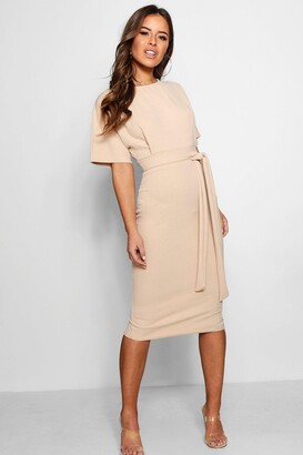 boohoo Petite Tie Waist Formal Wiggle Midi Dress