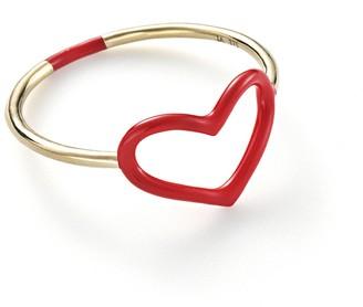 Jordan Askill Red Enamel Heart Ring - Yellow Gold