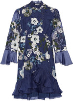 Erdem Constance Embroidered Silk-organza Dress - Midnight blue