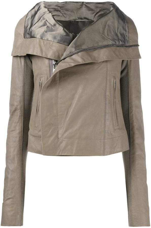 Rick Owens oversized collar biker jacket