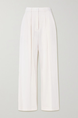 Michael Lo Sordo Pleated Merino Wool Wide-leg Pants - White